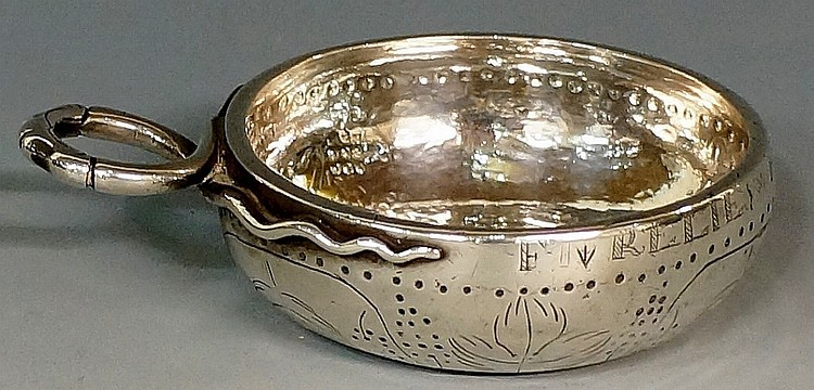 A late 17th / early 18th Century silver French tas vin, the body engraved w