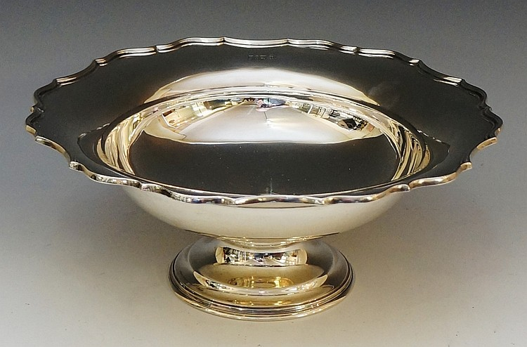 A silver pedestal dish with shaped rim, stepped circular foot, by Barker Br