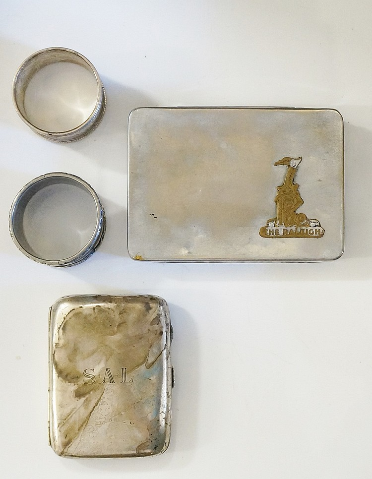 A selection of silver and plate to include: an Edwardian silver cigarette c