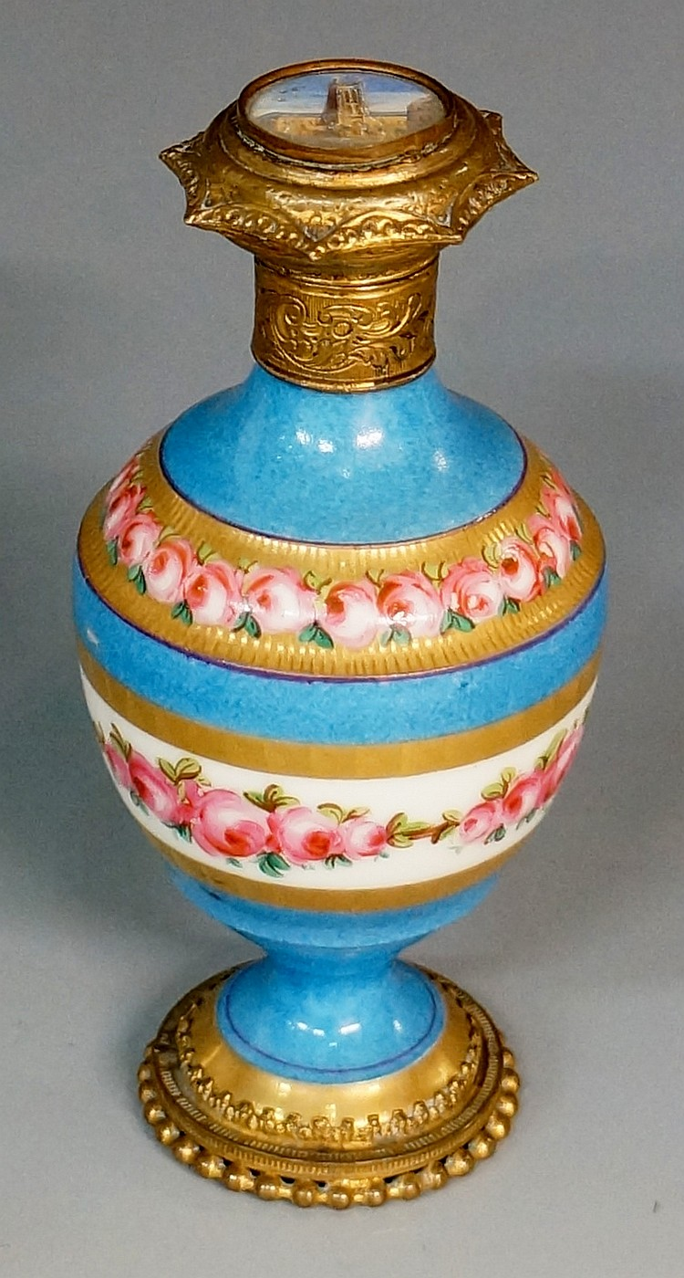 A 19th Century French porcelain Palais Royale scent bottle with gilt metal