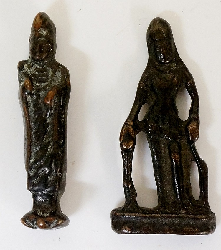 Two bronze figural amulets, each 6.5cm high approx.