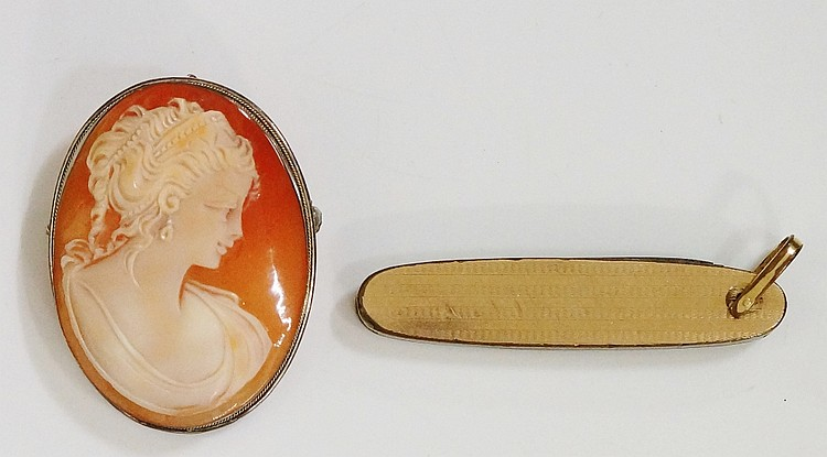 An oval shell cameo carved with a head and shoulder bust of a young lady, 4