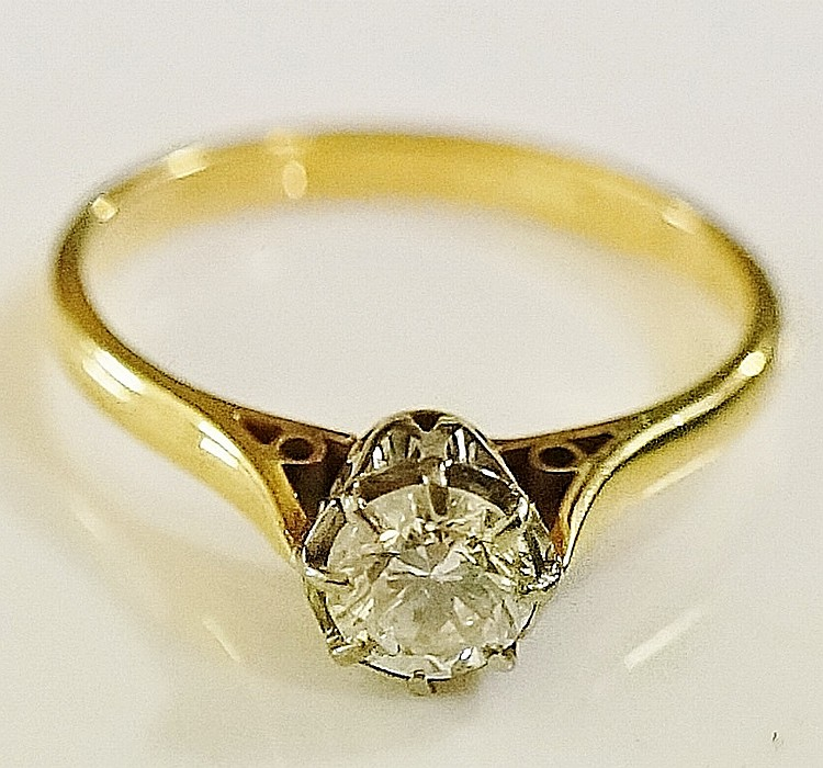 A ladies solitaire diamond ring, the brilliant cut diamond approx. 0.38 car