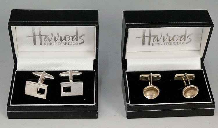 Two pairs of silver cuff links, one pair a square pierced rectangle, stampe