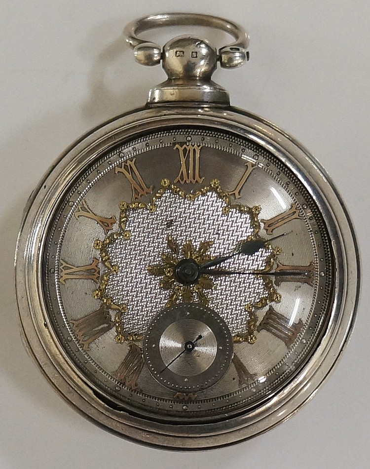 A Victorian pair cased pocket watch, the silvered face with subsidiary seco