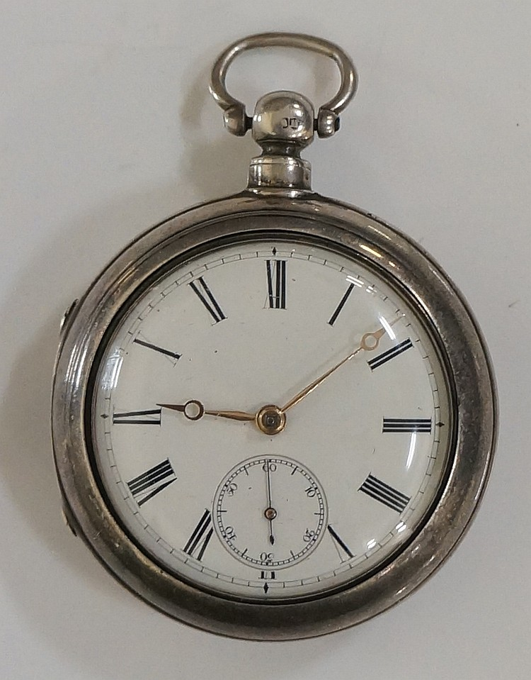 A Victorian pair cased pocket watch, the white enamel face with subsidiary