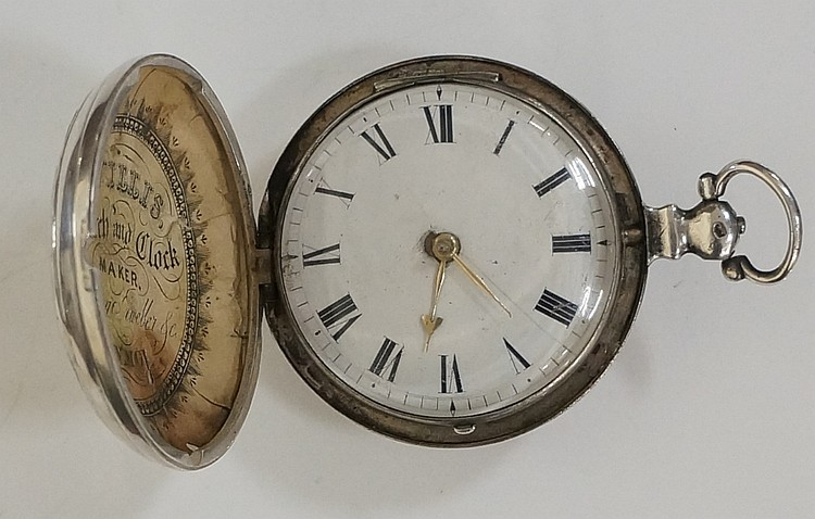 An early 19th Century hunter cased pocket watch, the case embossed with hou