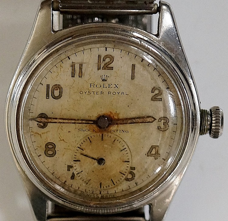A Rolex Oyster Royal stainless steel wristwatch, the dial with subsidiary s