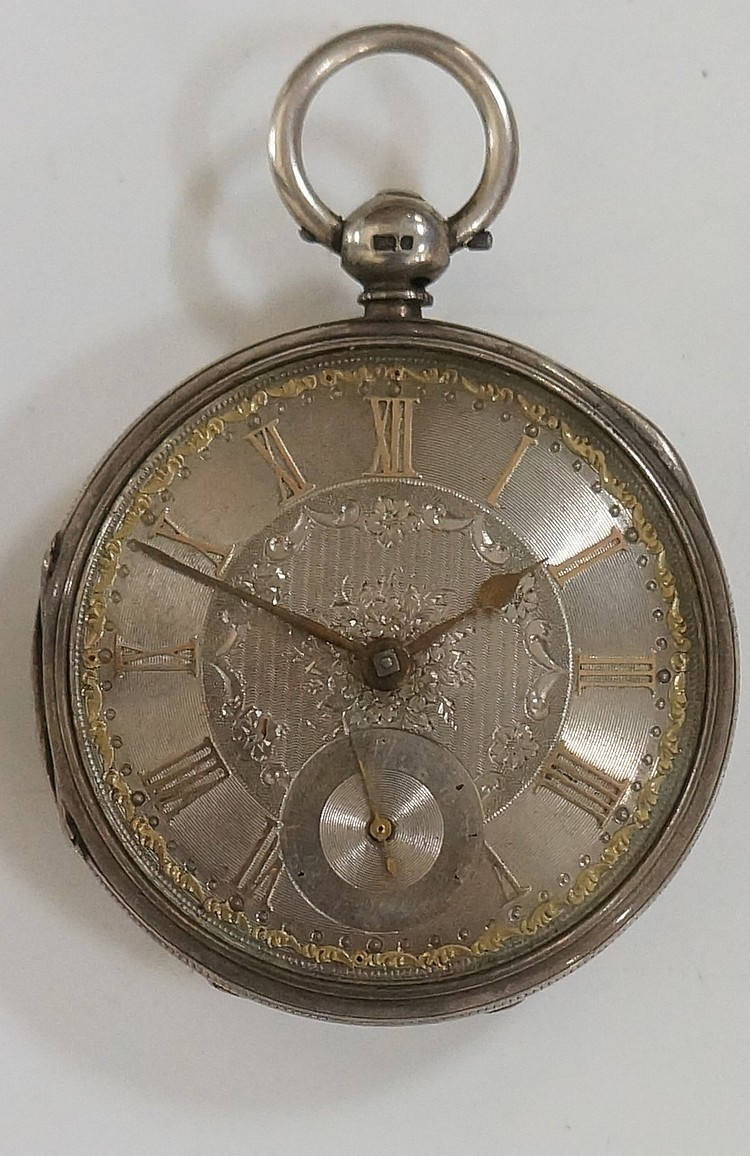 A Victorian silver cased fuseé pocket watch with silver face and subsidiary