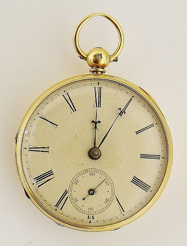 An 18 carat gold keyless lever pocket watch with engine turned back, the cr