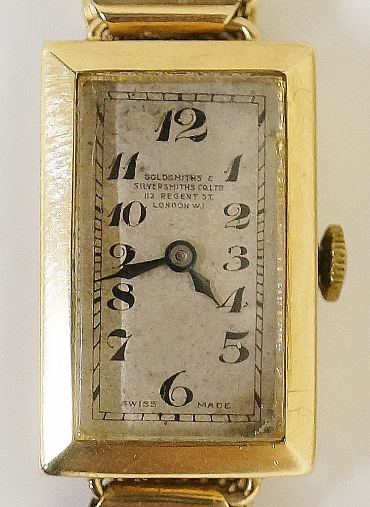 A ladies 9ct gold Art Deco style wristwatch, the case enclosing a dial insc