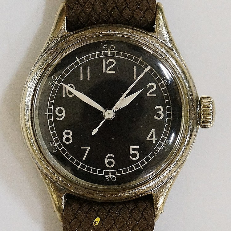 A military style gentleman's wristwatch, the nickel plated case with black