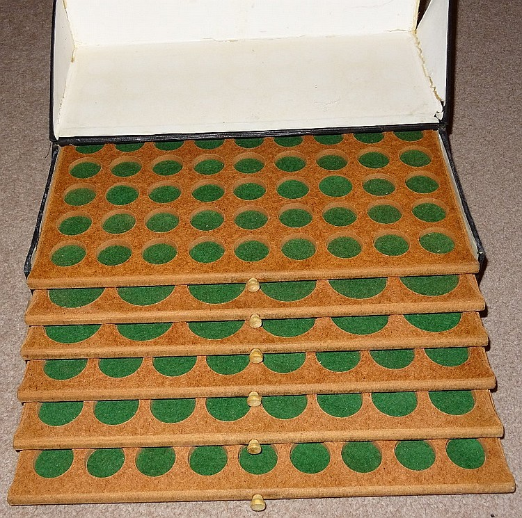 Coin Cabinet, 1970's, 6 hardwood trays in board carrying case, 12½''x2½''x1