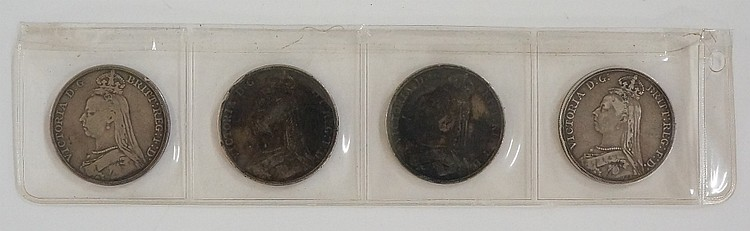 Four Victoria crowns 1889, 90, 91 & 92