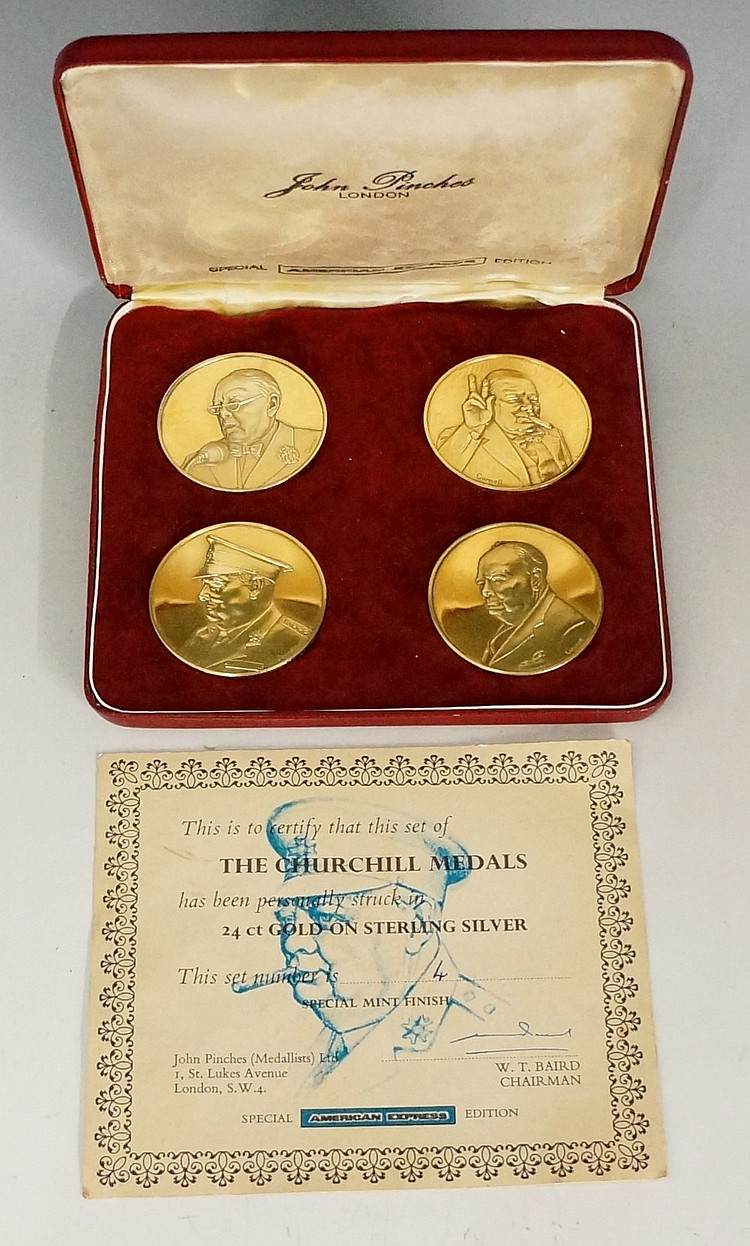 A set of four silver gilt Churchill medals by John Pinches, London, 'Specia