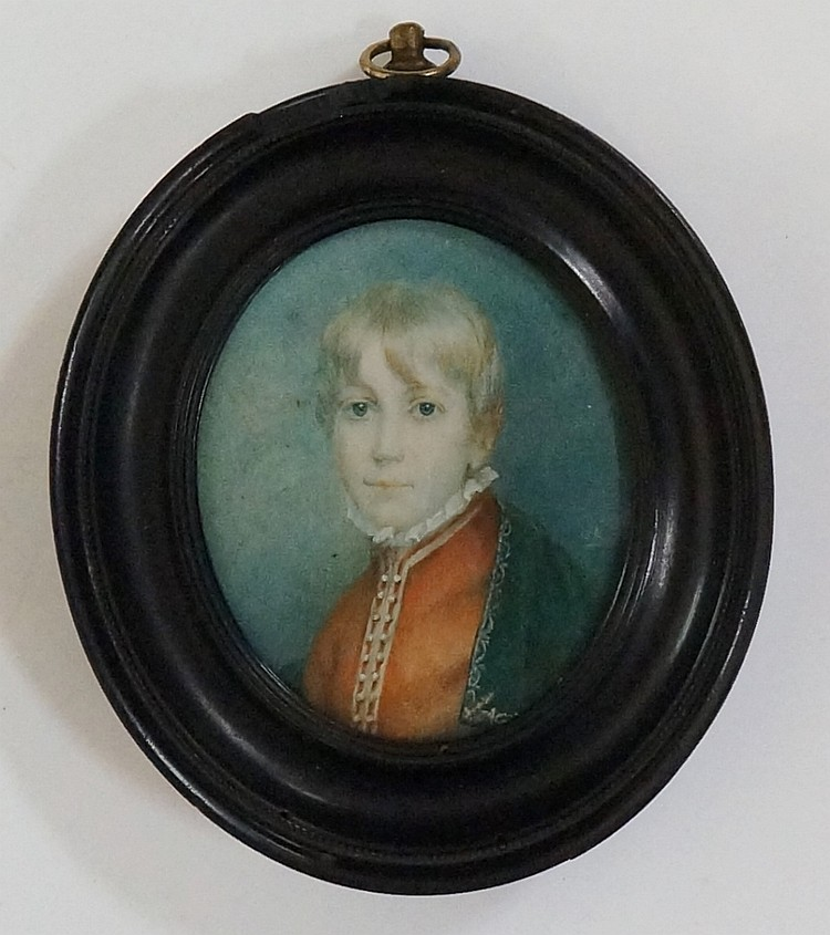 An early 19th Century portrait miniature, head and shoulder portrait of a y