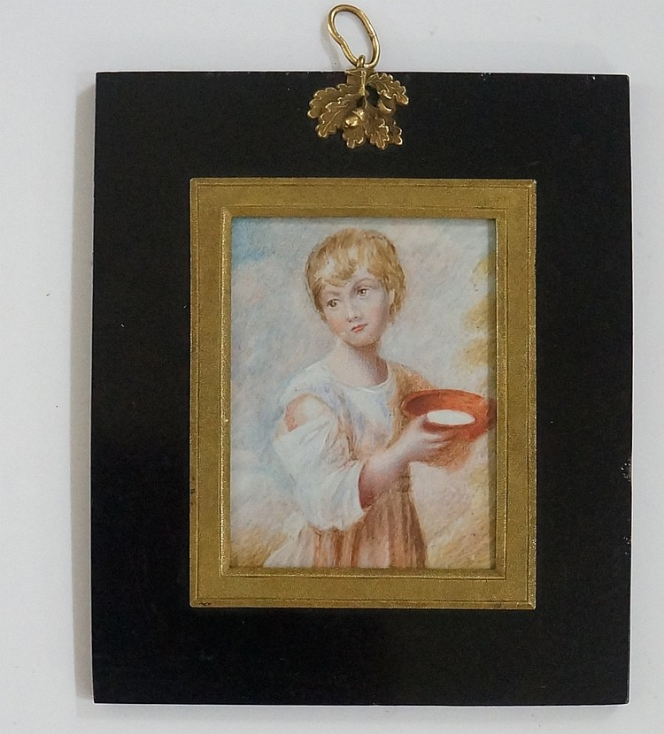 A 19th Century portrait miniature of a young child carrying a bowl of milk,