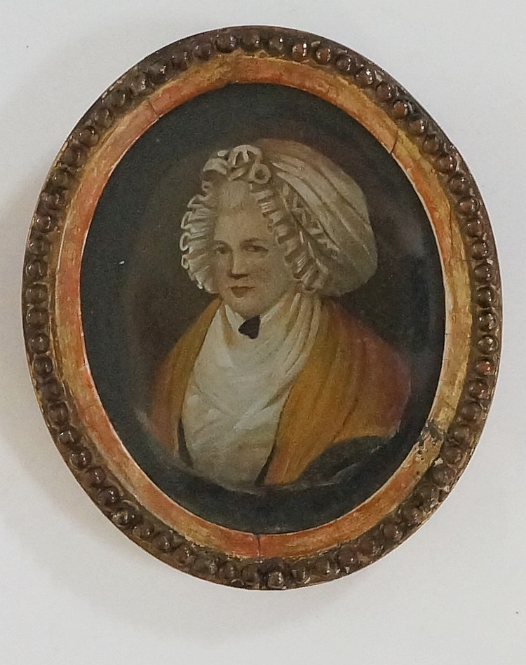 An 18th Century Dutch oval portrait miniature, head and shoulders of an eld