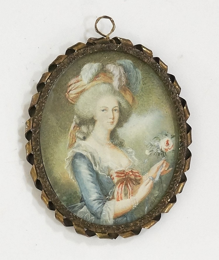 H Le Brun (after) - half length portrait miniature of a lady holding  a ros