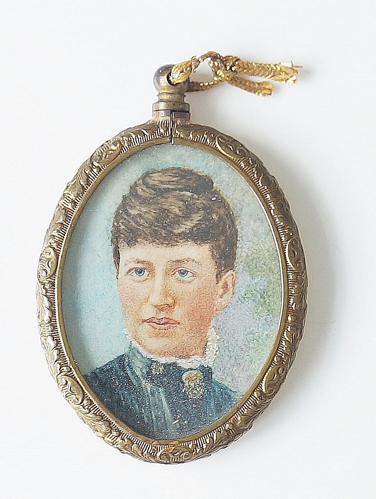 A head and shoulder portrait miniature of a lady wearing a blue green dress