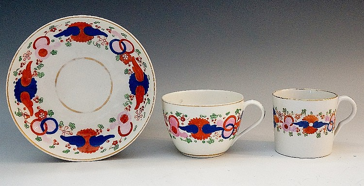 Pinxton - a pattern number 343 trio (unfinished), the Imari style pattern w
