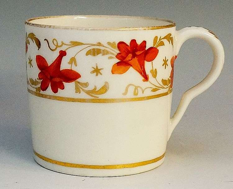 Pinxton - a pattern number 312 red lily coffee can, red enamel flowers with