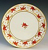 Pinxton - a pattern number 312 red lily saucer dish with red enamelled flow