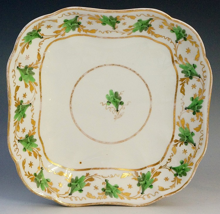 Pinxton - a rare pattern number 312 green lily shaped square dish, green en
