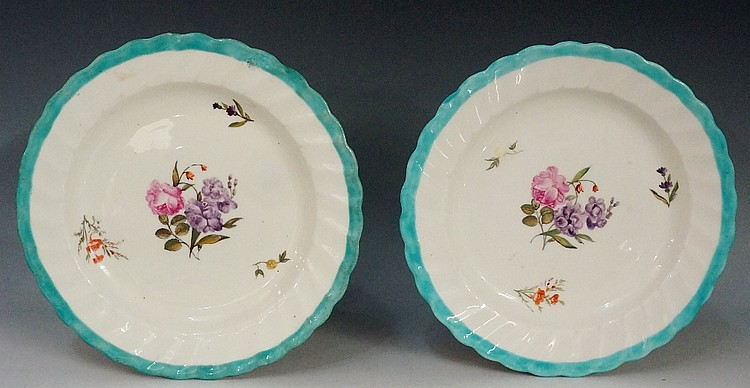 Pinxton - a pair of William Billingsley decorated shaped circular plates wi