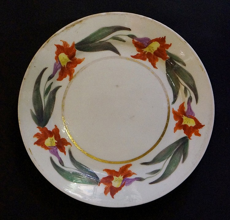 Pinxton - a Pinxton Botanical tureen stand or small plate, iron red, yellow