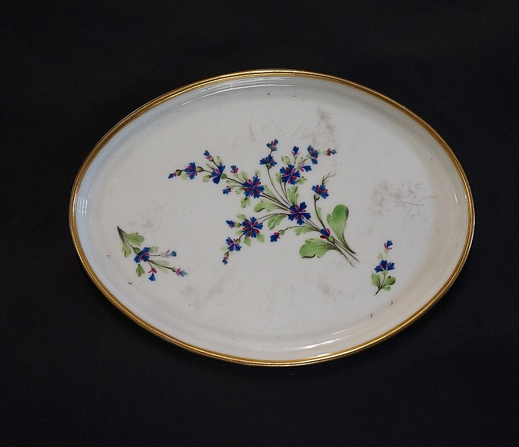 Pinxton - an oval teapot stand similar to pattern 14, decorated with a larg