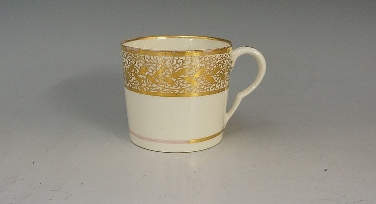 Pinxton - a pattern number 1 coffee cup in gold, 6cm high see C.Barry Shep