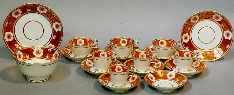 A Spode pattern 878 part tea service comprising: eight saucers, seven cups,