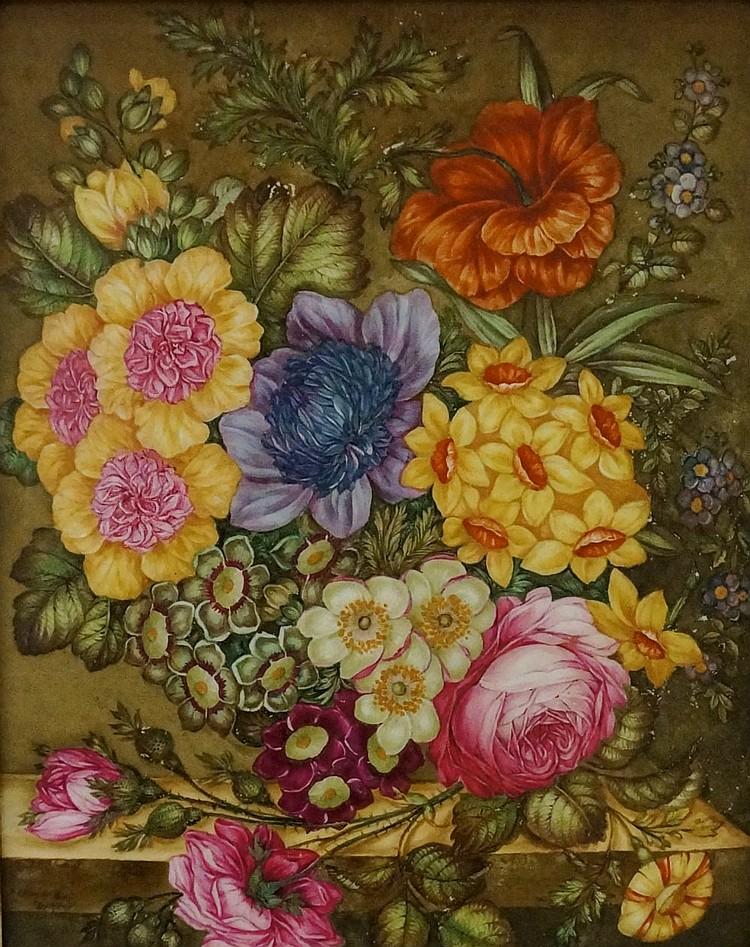 James Rouse Snr (1802-1884) - a good Derby rectangular botanical porcelain