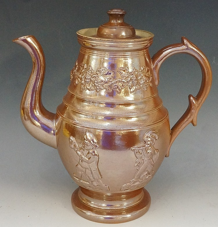 A Yorkshire brown salt glazed coffee pot of conventional form, the body mou