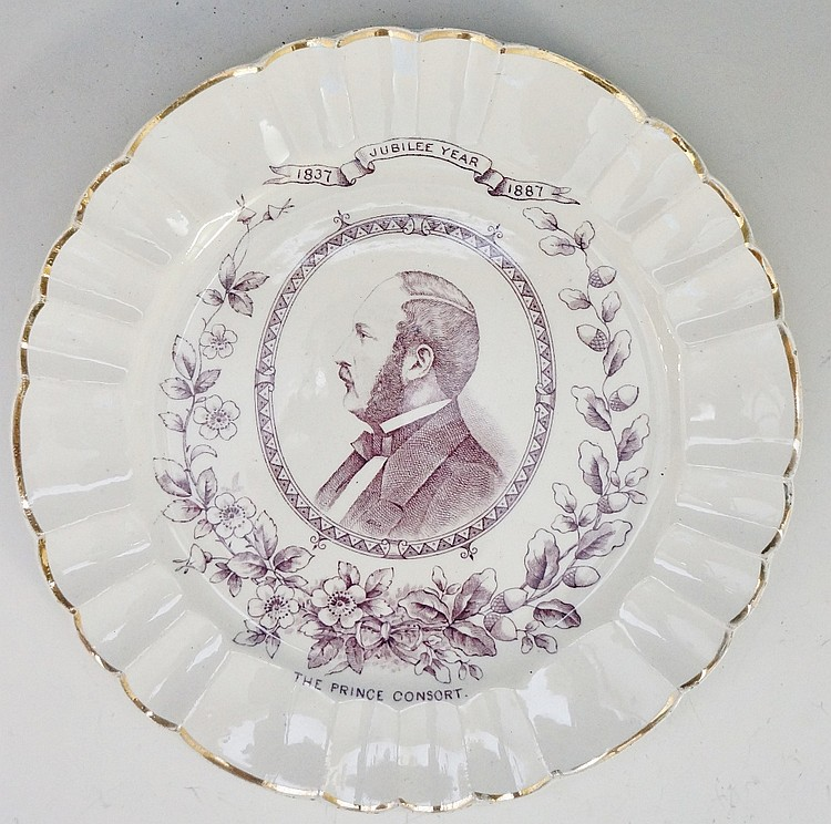 A Hines Brothers pottery Jubilee plate, transfer printed with an oval head