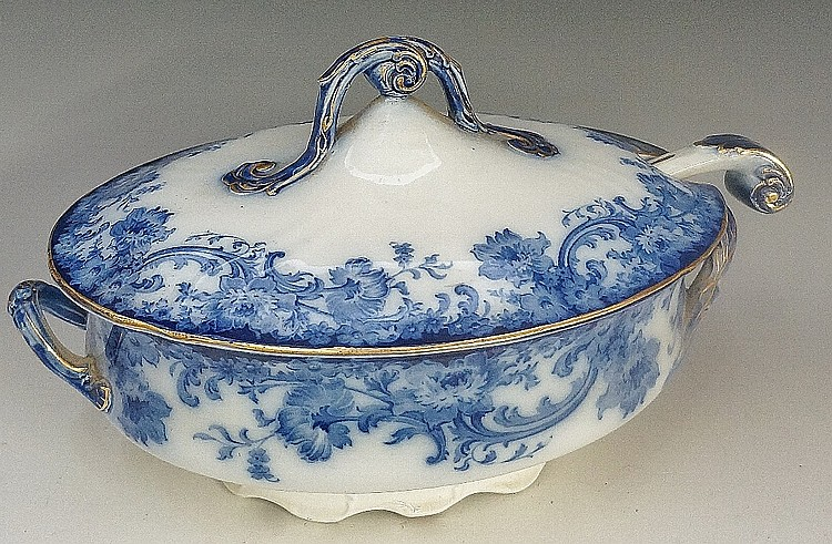 A Doulton Burslem Melrose pattern flow blue oval tureen, cover and matching