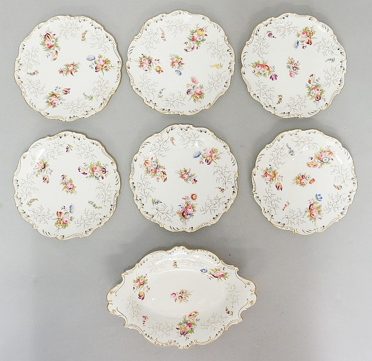 A Coalport part dessert service comprising: six plates and one shaped oval