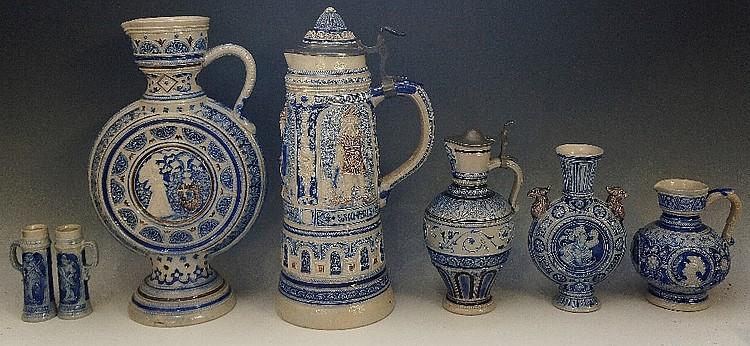 A collection of 19th Century Rhenish salt glaze items including: a lidded s
