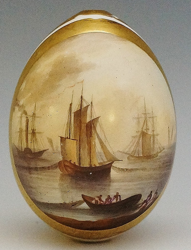 A Russian porcelain Easter egg possibly by The Imperial Porcelain Factory,