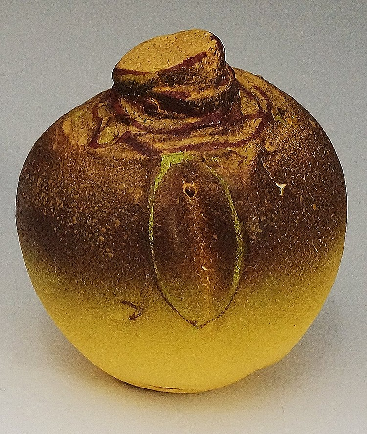 A Crowan pottery turnip, realistically modelled, 10cm high, impressed mark