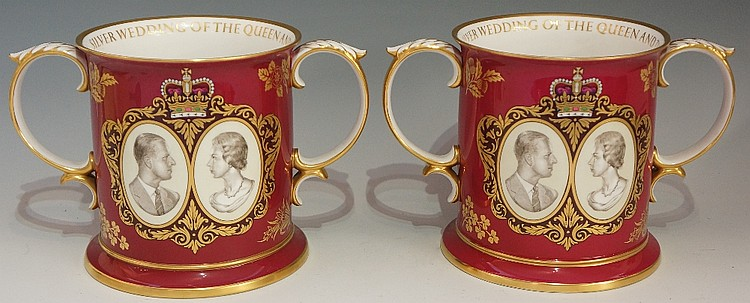 Two Spode - The Royal 25th Wedding Anniversary Loving Mug, each with portra