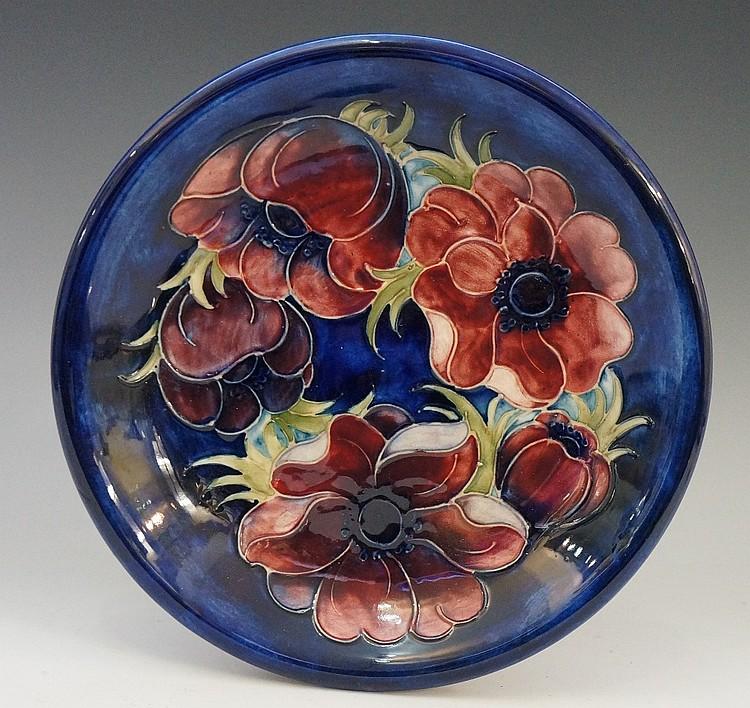 Moorcroft - an anemone pattern circular dish, 21.5cm diameter, impressed ma