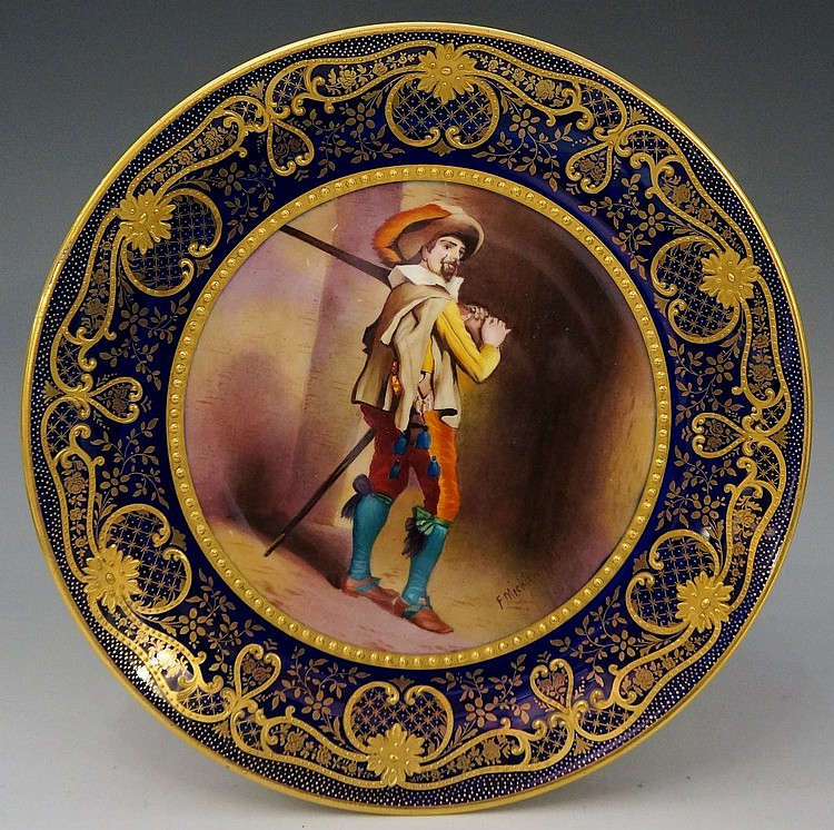 A Paragon China circular cabinet plate painted to the centre by F. Micklewr