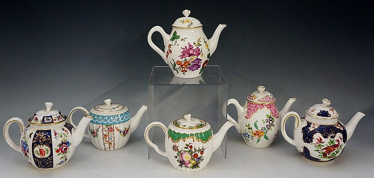 Six Heirloom Worcester teapots including: Flower Trellis, Meissen Flowers,