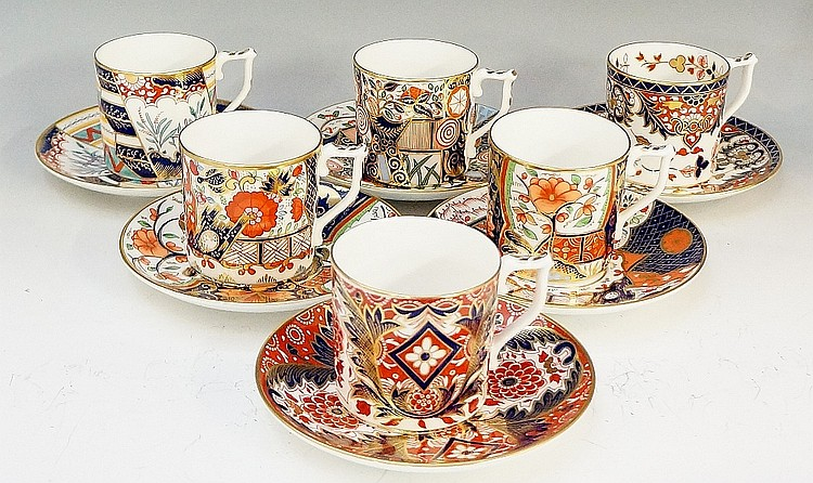 A set of six Royal Crown Derby ''The Curator's Collection'' coffee cans and