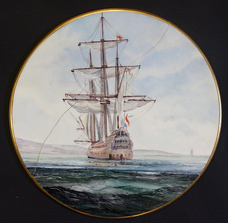 A Stefan Nowacki circular plaque, painted with a becalmed three masted sail