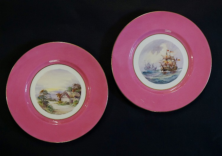 A Royal Crown Derby circular cabinet plate, painted to the centre with sail