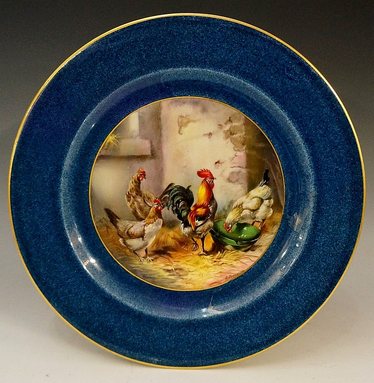 A Royal Worcester circular cabinet plate, painted to the centre with chicke