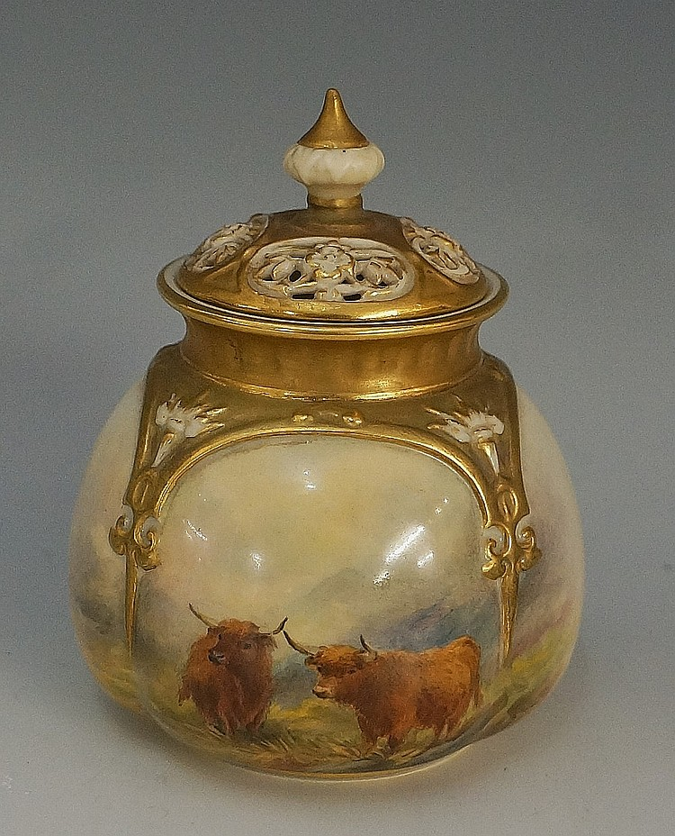 A Royal Worcester panelled sack shaped vase and cover, the slightly domed l